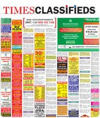 TIMES OF INDIA NEWSPAPER CLASSIFIED AD
